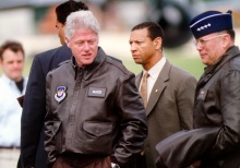 GEN John P. Jumper, U.S. Air Forces in Europe commander, escorts President William Jefferson Clinton upon his arrival to Ramstein Air Base, Germany, May 5, 1999. The president visited several European air bases to thank the troops (not shown) for their support of NATO Operations Allied Force and Shining Hope.